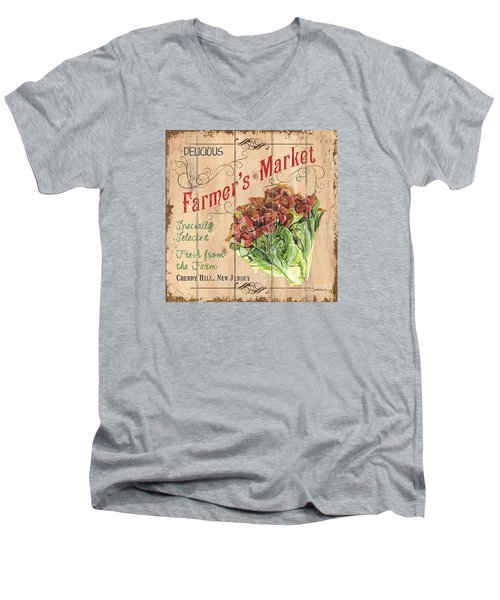 Farmer's Market Sign Men's V-Neck T-Shirt by Debbie DeWitt