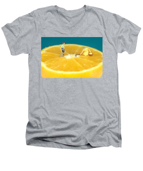 Farmers On Orange Men's V-Neck T-Shirt