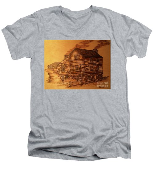 Men's V-Neck T-Shirt featuring the pyrography Farmhouse by Denise Tomasura