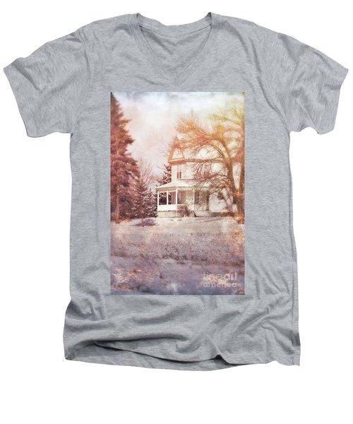 Men's V-Neck T-Shirt featuring the photograph Farmhouse In Snow by Jill Battaglia