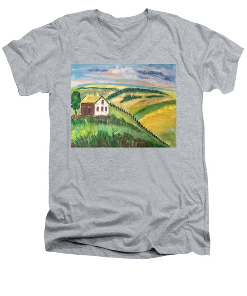 Men's V-Neck T-Shirt featuring the painting Farmhouse On A Hill by Diane Pape