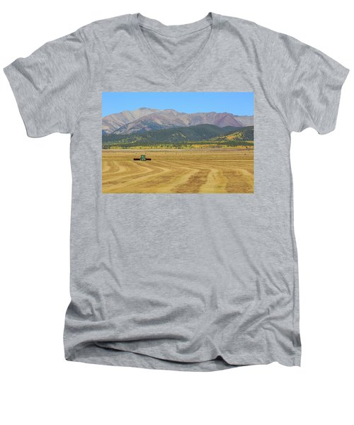 Men's V-Neck T-Shirt featuring the photograph Farming In The Highlands by David Chandler