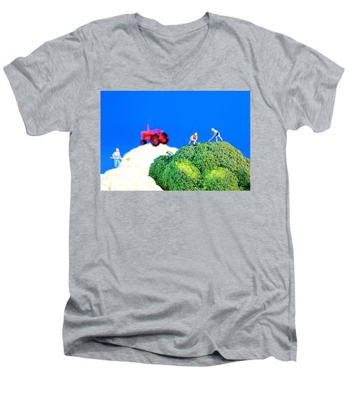 Farming On Broccoli And Cauliflower II Men's V-Neck T-Shirt by Paul Ge
