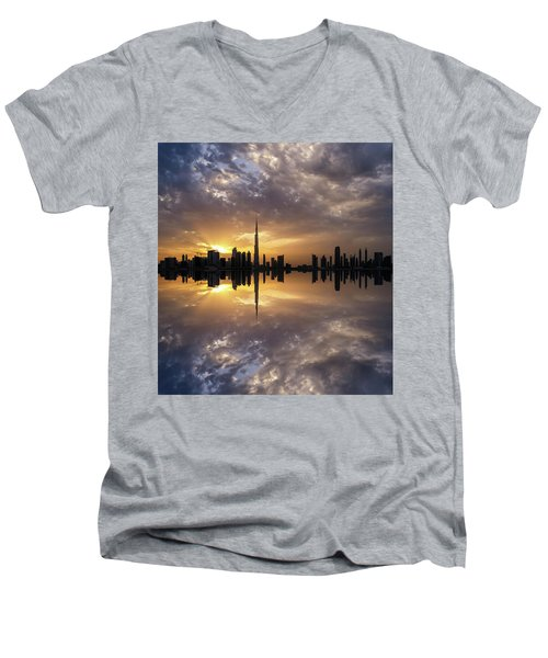 Fascinating Reflection In Business Bay District During Dramatic Sunset. Dubai, United Arab Emirates. Men's V-Neck T-Shirt