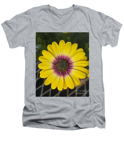 Fascinating Yellow Flower Men's V-Neck T-Shirt by Jasna Gopic