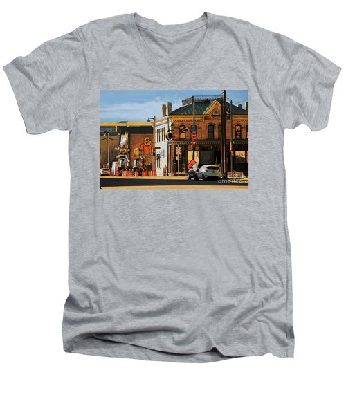 Fat Daddy's Men's V-Neck T-Shirt by David Blank