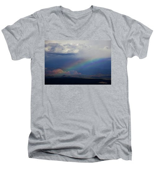 Men's V-Neck T-Shirt featuring the photograph Fat Rainbow, Sedona Az by Ron Chilston