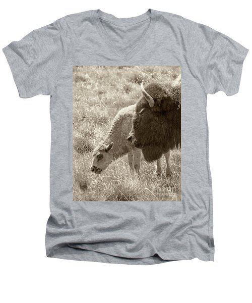 Men's V-Neck T-Shirt featuring the photograph Father And Baby Buffalo by Rebecca Margraf