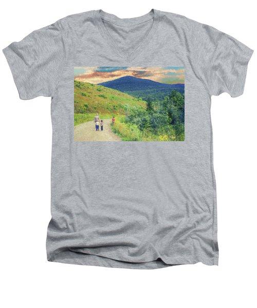 Father And Children Walking Together Men's V-Neck T-Shirt