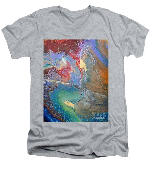Men's V-Neck T-Shirt featuring the painting Father Of Lights by Deborah Nell