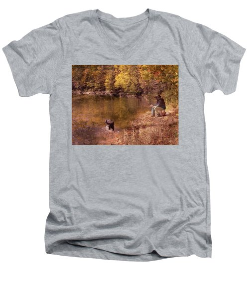 Father,son And Dog Men's V-Neck T-Shirt