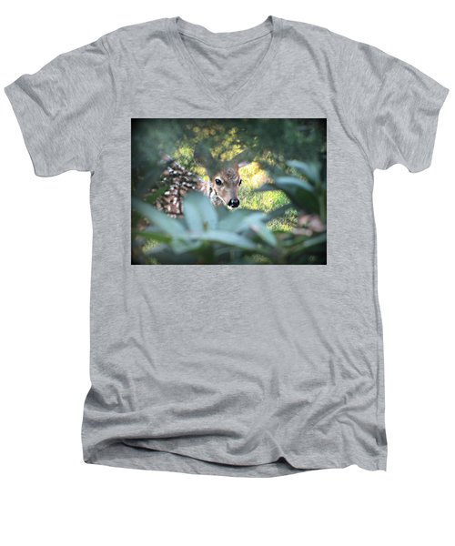 Fawn Peeking Through Bushes Men's V-Neck T-Shirt