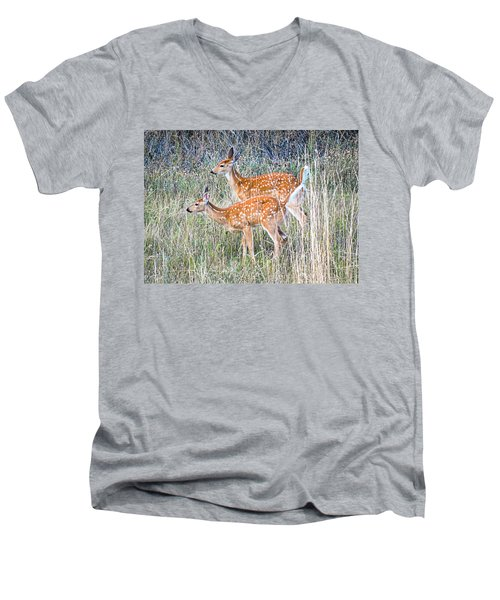 Fawns At Bigfork Men's V-Neck T-Shirt
