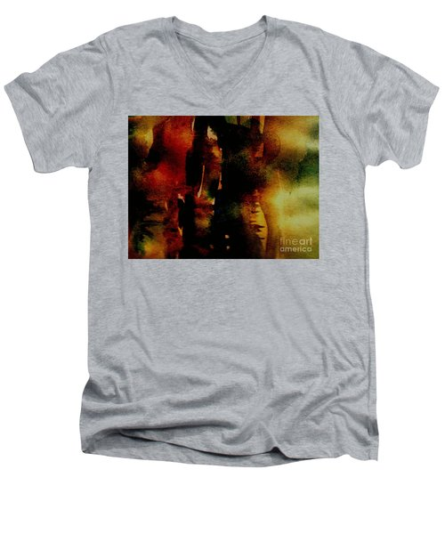 Men's V-Neck T-Shirt featuring the painting Fear On The Dark by Rushan Ruzaick