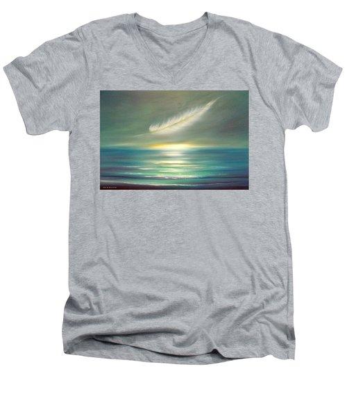 Feather At Sunset Men's V-Neck T-Shirt