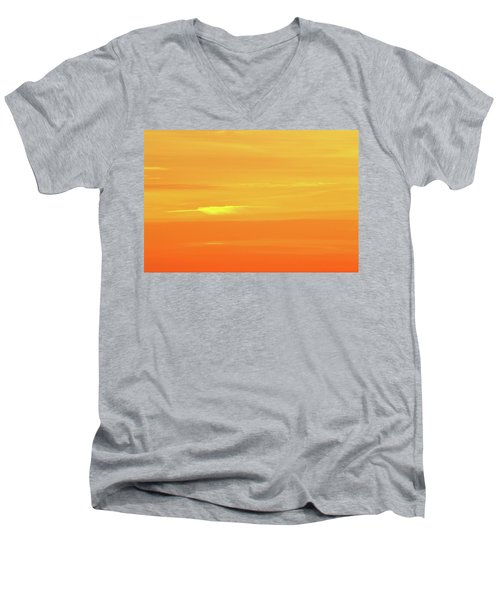 Feather Cloud In An Orange Sky  Men's V-Neck T-Shirt by Lyle Crump