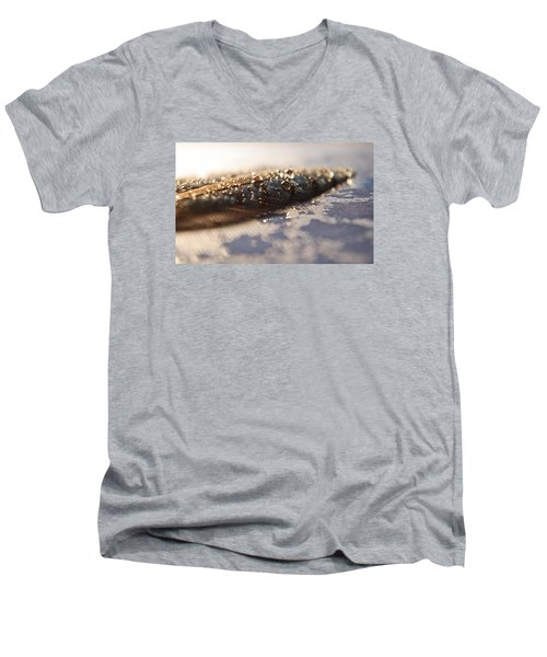 Men's V-Neck T-Shirt featuring the photograph Feather In Puddle by Adria Trail
