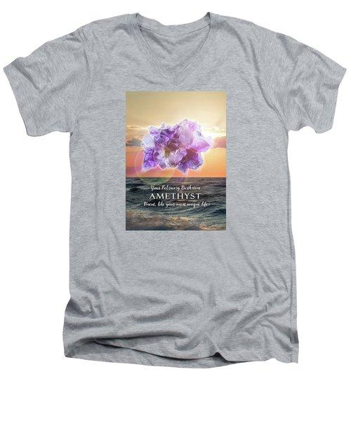 February Birthstone Amethyst Men's V-Neck T-Shirt