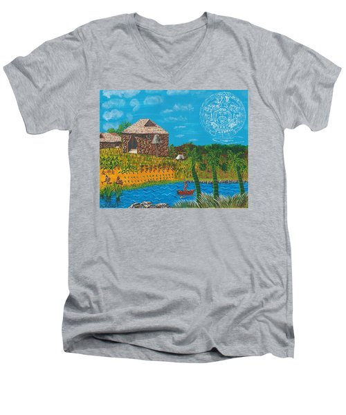 February  Mayan Farm Men's V-Neck T-Shirt