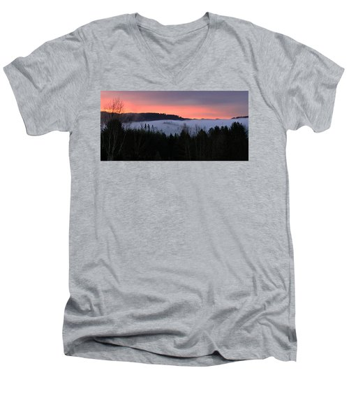February Oregon Sunrise Men's V-Neck T-Shirt by Katie Wing Vigil