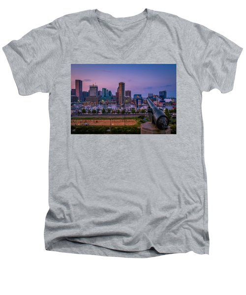Federal Hill In Baltimore Maryland Men's V-Neck T-Shirt by Susan Candelario