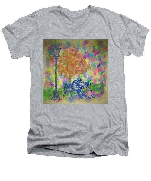 Feeding The Birds Men's V-Neck T-Shirt