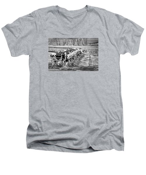 Men's V-Neck T-Shirt featuring the photograph Feedlot by Dan Traun