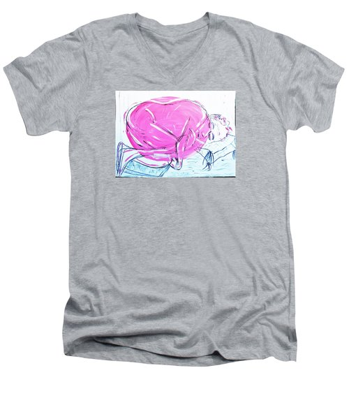 Feeling Cosy Men's V-Neck T-Shirt by Tamara Savchenko