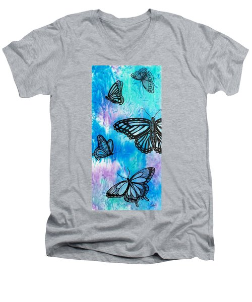 Men's V-Neck T-Shirt featuring the painting Feeling Free by Susan DeLain