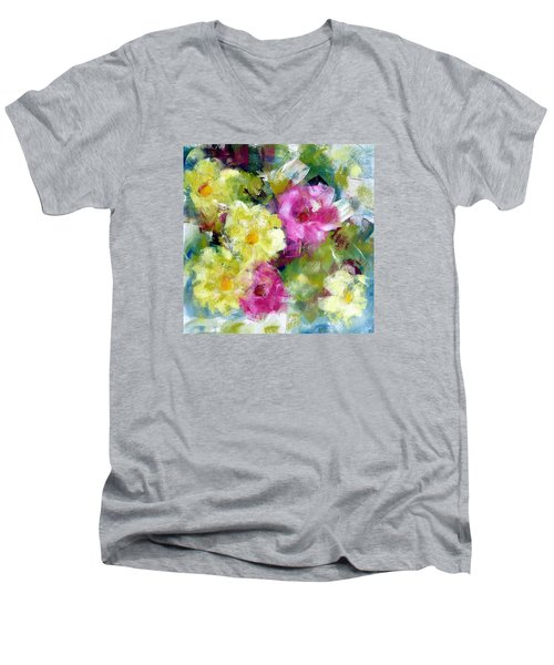 Men's V-Neck T-Shirt featuring the painting Felicidades by Katie Black