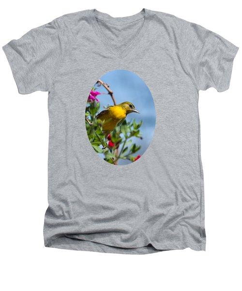 Female Baltimore Oriole In A Flower Basket Men's V-Neck T-Shirt by Christina Rollo