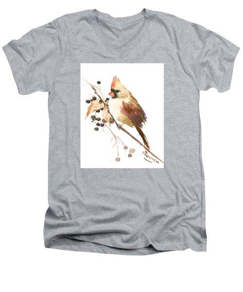 Female Cardinal Bird Men's V-Neck T-Shirt by Suren Nersisyan