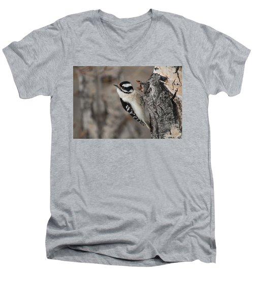 Female Downey Woodpecker Men's V-Neck T-Shirt