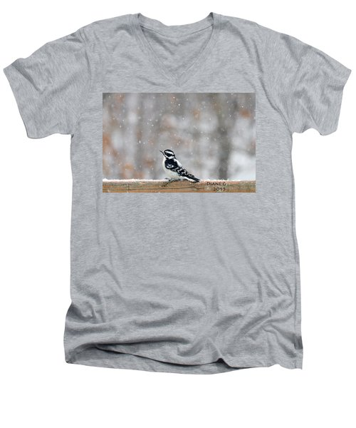 Female Downy Woodpecker Men's V-Neck T-Shirt by Diane Giurco