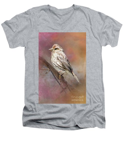 Female Sparrow On Branch Ginkelmier Inspired Men's V-Neck T-Shirt