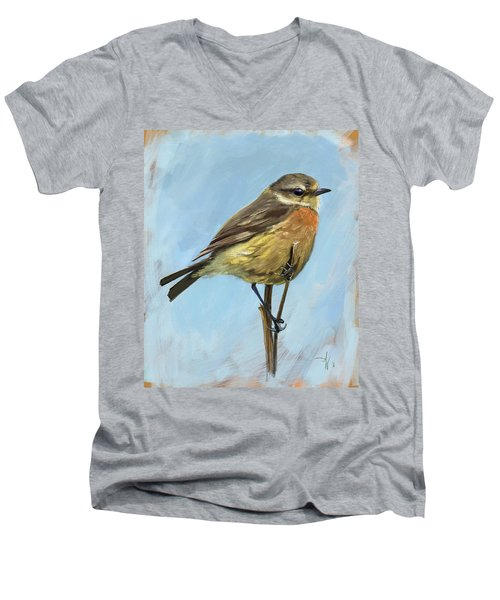 Female Stonechat Men's V-Neck T-Shirt
