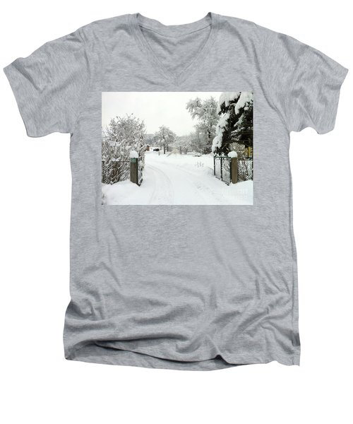 Fence And  Gate In Winter Men's V-Neck T-Shirt