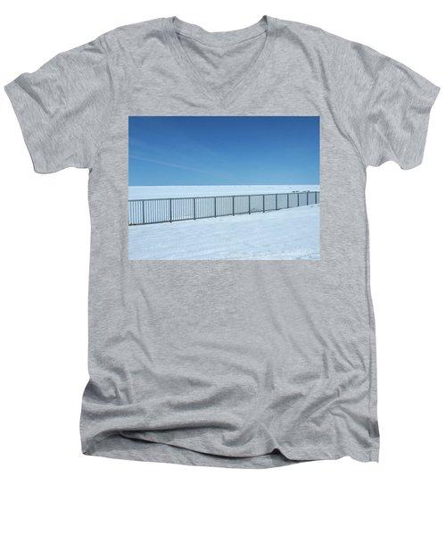 Fence In Snow Men's V-Neck T-Shirt