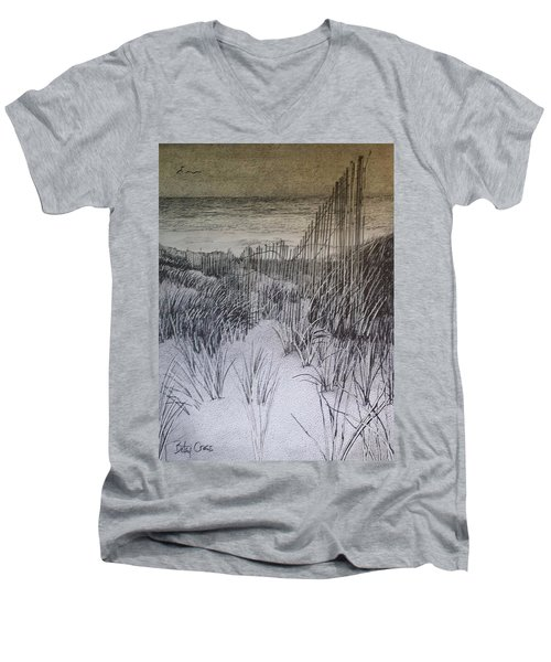 Fence In The Dunes Men's V-Neck T-Shirt