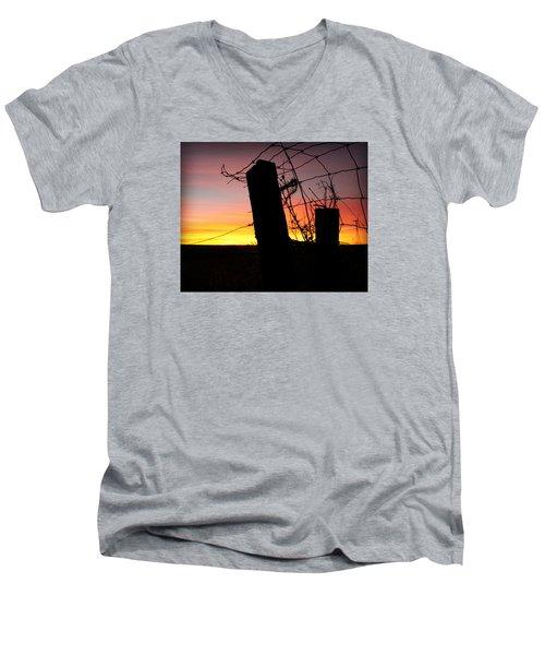 Fence Sunrise Men's V-Neck T-Shirt by Kathy M Krause