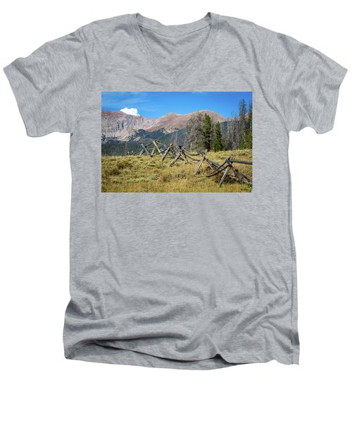 Men's V-Neck T-Shirt featuring the photograph Fences Into The Rockies by Dawn Romine