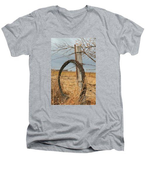 Men's V-Neck T-Shirt featuring the photograph Fencing With My Dad by Shirley Heier