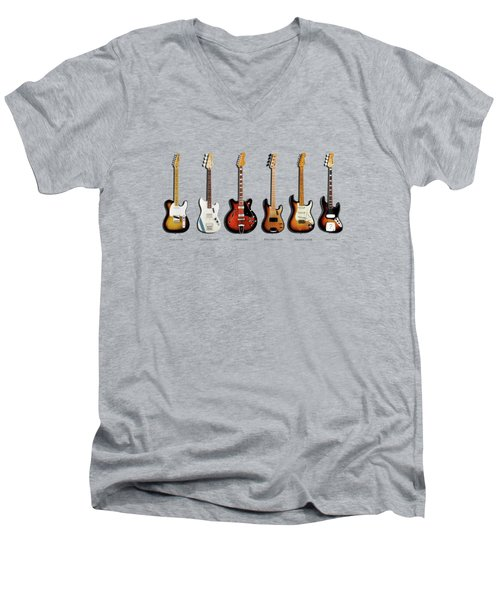 Fender Guitar Collection Men's V-Neck T-Shirt by Mark Rogan