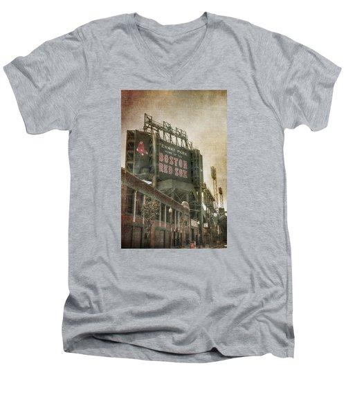 Fenway Park Billboard - Boston Red Sox Men's V-Neck T-Shirt by Joann Vitali