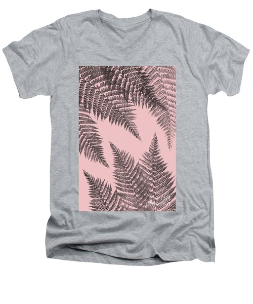 Ferns On Blush Men's V-Neck T-Shirt