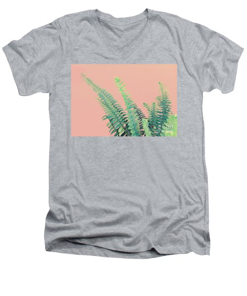 Ferns On Pink Men's V-Neck T-Shirt