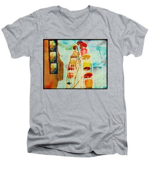 Ferris Wheel Fun Men's V-Neck T-Shirt by Toni Hopper