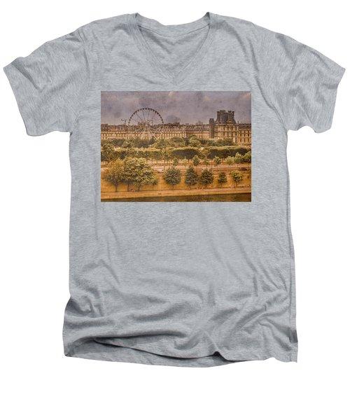 Paris, France - Ferris Wheel Men's V-Neck T-Shirt