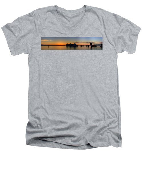 Ferry Boat Arrives To Mukilteo Ferry Terminal Men's V-Neck T-Shirt