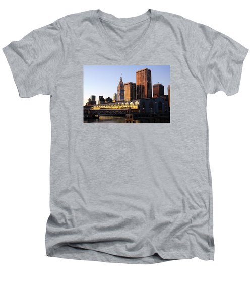 Ferry Building And San Francisco Men's V-Neck T-Shirt